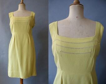 1950s Yellow Linen Dress