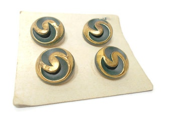 Vintage Buttons Green and Gold Metal (4) 1950s