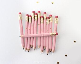 Pink and Gold Foil Heart Mini Pencils // Bridal or Baby Shower Game Pencils, Mini Pencils, Golf Pencils, Wedding Pencils, Shower Favor