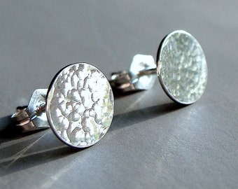 Flat Studs Flat Disc Studs Hammered Studs 8mm Disc Sterling Silver Post Earrings Stud Earrings Studs