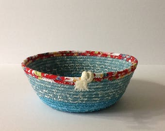 Aqua and Red Coiled Rope Bowl, Fabric Bowl, Catchall Basket, Organizer Basket, Quiltsy Handmade