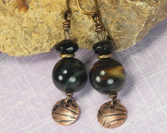 Black Onyx and Tiger Eye Dangle Earrings with Etched Copper Discs