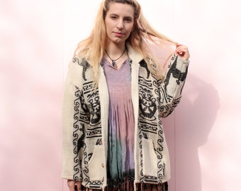 Vintage Hippie Woven Black & White Jacket