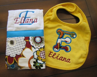 Gift Set with Coordinating Burp Cloth and Bib