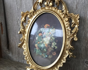 Vintage Ornate Gold Framed Print , Resin