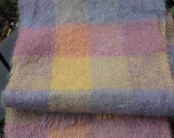 Soft and warm, mohair scarf in pastel pink, blue and yellow