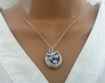 Lavender Pearl Bird's Nest Necklace