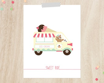 "Ice cream truck wall art, Instant download, 11x14"", Ice cream wall art, Modern nursery Art, Ice cream print, Modern nursery prints"