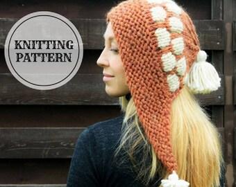 KNITTING PATTERN Mosaic Hat, Winter Hat, Hat PDF Knitting Pattern, Hat for Women, Hat for Girl, Hat with Tassels