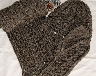 """Pure Qiviut Luxury: Scarf, Hat , Mittens Set/Combo """"Mayne Island"""", hand knit in pure undyed qiviut (underdown of the muskox) - MADE TO ORDER"""