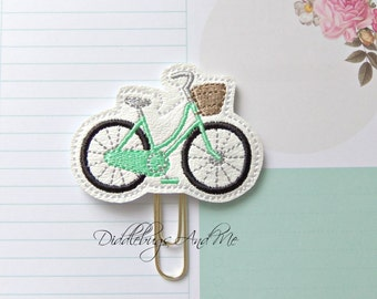 Bicycle Planner Clip, Mint Bicycle Paper Clip, Vinyl Paper Clip, Accessory For Planner, Bicycle With Basket Planner Clip, Vinyl Planner Clip
