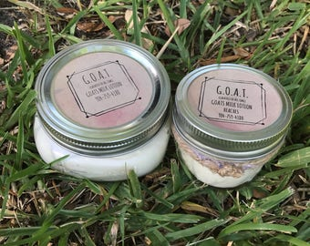 8oz Scented (tropical scent) Goats Milk Lotion and 4oz Non Scent Goats Milk Lotion