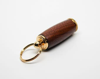 Deluxe Pill Holder Key Chain - Oregon Myrtlewood with 10kt Gold Accents (Gift Ready)