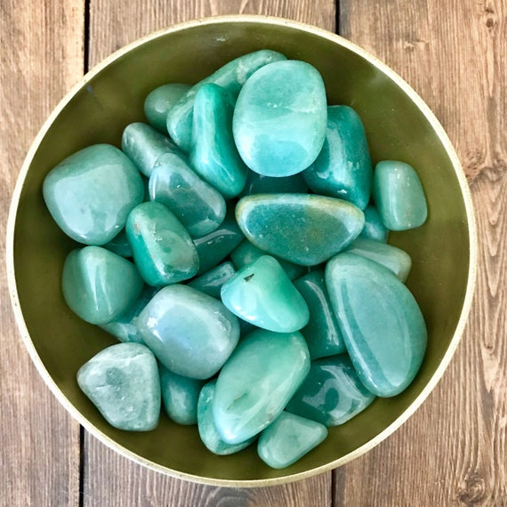 Green Aventurine Tumbled Stones, Prosperity and Wealth Crystal Grid Gemstones, Good Luck Charms, Heart Chakra Meditation, Healing Stones