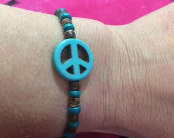 Turquoise Blue Peace Sign stretch Bracelet, peace sign bracelet, peace bracelet, turquoise bracelet, peace gift, peace sign gift, turquoise