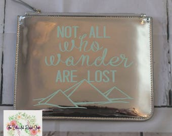 "Silver Mirror Carrying Case ""Not  All Who Wander Are Lost"" in Mint"