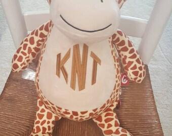 Monogrammed Cubbie - Giraffe