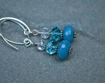 CARIBBEAN SEAS~~faceted Apatite & Swarovski crystal sterling silver earrings