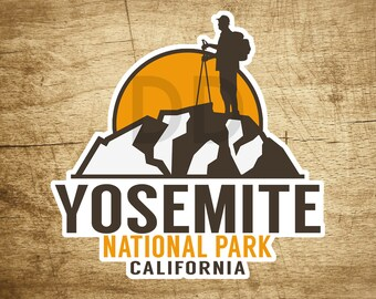 "Yosemite National Park California Hiking Sticker Decal 3.1"" x 3"""