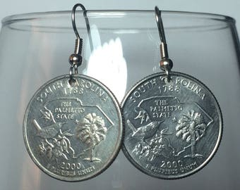 2000 South Carolina Quarter Earrings Free Gift Bag 18 Year Anniversary 18th Birthday Birthplace Birth State