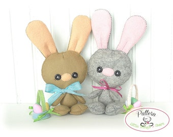 Baby Bunny PDF Pattern-Easter Bunny sewing pattern-Cute Rabbit plush toy-Easter present-Baby shower present-Felt Bunny-Felt animals