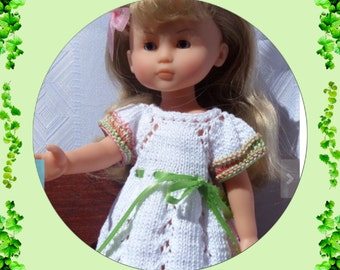 "Knitting Pattern (PDF download) 13 inch dolls, Les Cheries, Paola Reina, Heart For Hearts, etc. ""Eyelet Chevron Trio"""