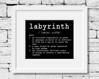 Labyrinth Definition, Labyrinth Definition Print, Writing Teacher, Writer Print, Write Quote, English Teacher, Writing Quote