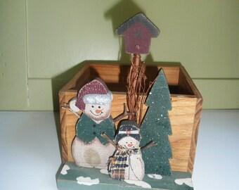 Snowman Wooden Box, Snowman Box, primitive decor, country cottage, Americana, christmas box, country snowman