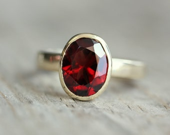 Garnet Ring in14k Yellow Gold, Oval Red Gemstone Ring in Recycled Eco Friendly Gold
