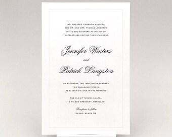 Printable Simple Classic Elegant Wedding Invitation With Matching Items