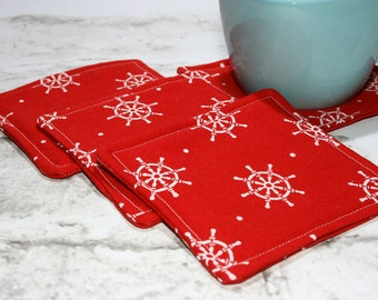 Red and White Nautical Coasters, Set of 4
