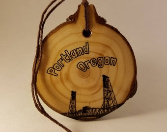 Portland Hawthorne Bridge - Crosscut Wooden Ornament