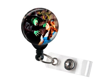 Wicked witch and Dorothy, Badge reel, ID Badge holder, retractable badge reel, Dorothy, Ruby Slippers,Wizard of Oz