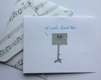 punny card, i can't stand this, miss you card, thinking of you card, music card, birthday card, handmade card, card for him, card for her,