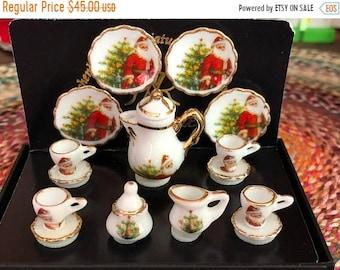 SALE Miniature Christmas Santa Coffee Set for 4 by Reutter Porcelain, Gold Trimmed Porcelain Dishes, Dollhouse Miniature, 1:12 Scale