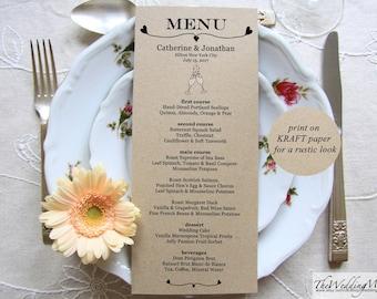 Kraft Menu Template Kraft Menu Editable Printable Menu Kraft Menu Template Rustic Menu Template Menu Printable Wedding Menu PDF GLASSES1