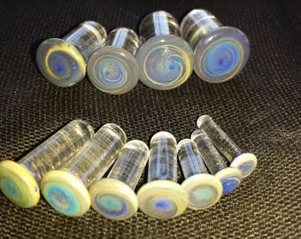 8, 6, 4, 2, 0, 00 Gauge Aquatic Single Flare Glass Plugs Earings