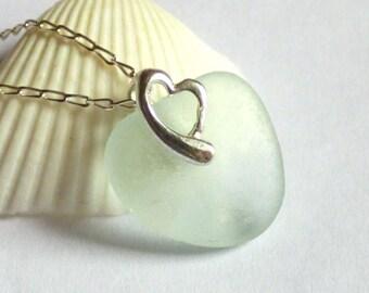 Sea Glass Pendant, Seafoam Blue, Green, Turquoise, Seaglass Necklace, Sea Glass Jewelry, Heart Pendant, Seaglass Jewellery - P170120