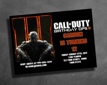 Call of duty etsy call of duty 3 black ops custom birthday party invitation custom invitation filmwisefo Image collections
