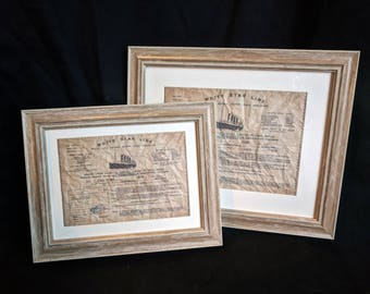 Framed Titanic ticket (reproduction)