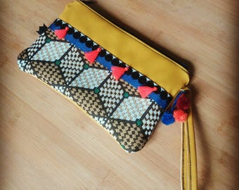 Clutch single boho yellow, blue, green, orange