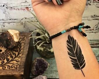 Temporary Tattoo - Little Feather - Feather Tattoo - Boho Tattoo - Boho Chic
