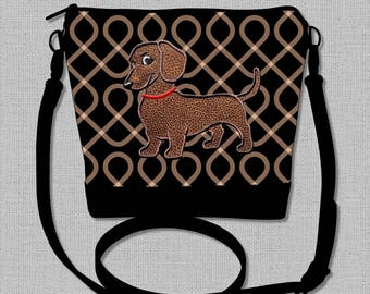 Dachshund Cross Body Bag with Appliqued Smooth Hair Flirty Dachshund - Cross Body-Handbag-Purse - Made to Order