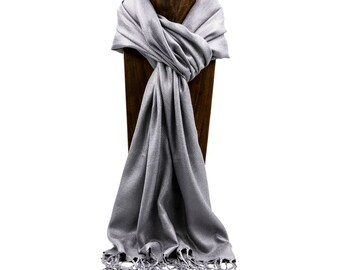 Pashmina, Scarf, Shawl Gray Solid Color