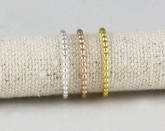 Beaded Wire in Sterling Silver, Stacking Rings, Dainty Rings, Gift For Her