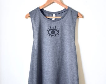 Third Eye- Muscle Tank- Yoga Tank Top- Rose Quartz Crystal- Gemstone Shirt- Gifts for Her. MADE TO ORDER