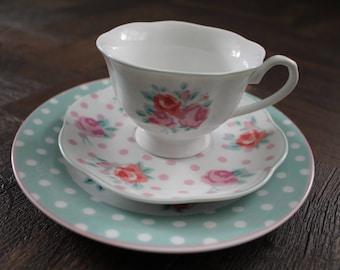 Pretty tea cup trio