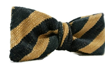 Navy Blue and Tan Stripe Bow Tie , Mens Pre-tied Clip-On Adjustable Country Bowtie Christmas Gift