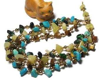 MULTISTRAND green and turquoise bracelet, semi precious Bohemian style