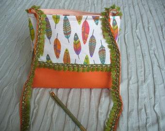 Pocket feathers orange faux leather and fringe ribbons green, fabric bag, shoulder strap